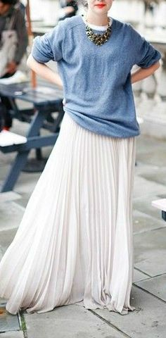 This is genius! pleated maxi skirt with sweat shirt, so cool and glam at the same time <3