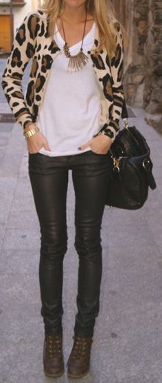 animal print cardigan, black leather pants, white top, handbag, boots