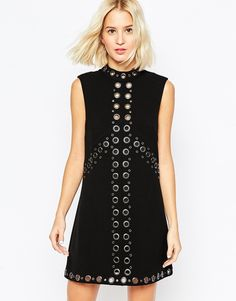 ASOS COLLECTION ASOS 60s High Neck Shift Dress With Eyelet Detail