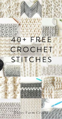 Free Crochet Stitches from Daisy Farm Crafts - knitting is as easy as 1 . - Free Crochet Stitches from Daisy Farm Crafts – knitting is as easy as 3 Knitting boils - Easy Crochet Stitches, Crochet Simple, Stitch Crochet, Crochet Daisy, Knitting Stitches, Knitting Patterns, Different Crochet Stitches, Knit Crochet, Crochet Flowers