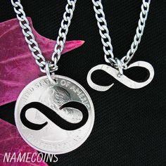 The infinity symbol makes beautiful and meaningful jewelry for couples. The inside and outside piece are cut from the same coin which shows the unity