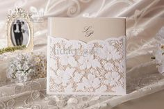 Lace Floral Wedding Invitation in White (Set of 100) Printable Customizable, Free shipping, $1.0-1.25/Piece | DHgate