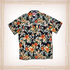 """FREE SHIPPING – EVERY ORDER, EVERY DAY! RJC Hawaiian Shirt """"Hiding Parrots"""" – Black  This Hawaiian shirt features tropical parrots hiding among Hibiscus & Plumeria flowers. Coconut shell buttons and matching print engineered chest pocket.  100% Cotton, Made In Hawaii http://hawaiianshirtdude.com/product/rjc-hawaiian-shirt-hiding-parrots-black/"""