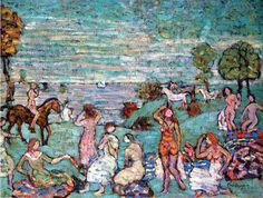 Picnic by the Sea, 1915 by Maurice Prendergast. Post-Impressionism. genre painting. Private Collection