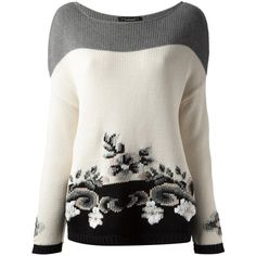 White, grey and black cotton floral intarsia knit sweater from Twin-Set Simona Barbieri featuring a boat neck, long sleeves and a straight hem.