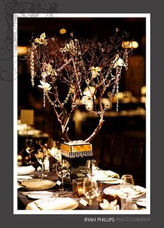 Gold and black manzanita tree with crystals on branches... great Halloween decor idea!