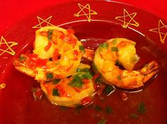 Tapas: Marinert scampi Scampi, Asian Recipes, Tapas, Shrimp, Chili, Nom Nom, Stuffed Peppers, Vegetables, Chile
