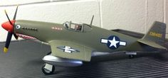 """1/40 scale P-51B in the markings of """"Tex"""" Hill """"Flying Tigers"""" after they joined the U.S. Army Air Force."""