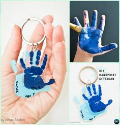 DIY Handprint Keychain Instruction - DIY Handprint Craft Gift Ideas DIY Handprint Craft Gift Ideas: Handprint gifts for kids and family to make, special hand-print holiday decoration, Christmas tree, Wall Art. Baby Handprint Crafts, Christmas Handprint Crafts, Christmas Crafts For Kids, Baby Crafts, Toddler Crafts, Fun Crafts, Christmas Tree, Diy Crafts Gift Ideas, Dad Christmas Gifts
