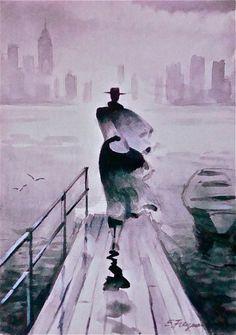 """Erik Freyman """"Etude #1"""" original watercolor #Impressionism"""