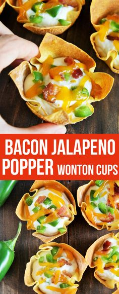 These crispy Bacon Jalapeno Popper Wonton Cups with creamy, cheesy, and spicy filling are an easy appetizer and make the perfect game day bite!