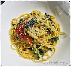 Rezepte mit Herz ♥: Pasta mit Spinat-Rahm-Sauce