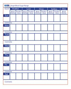 Monthly Diabetes Log Sheet  Printable Blood Sugar Log  Memo