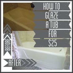 How to Glaze a Tub using one simple product that can transform any dated tub. DIY tub reglazing is something anyone can do! Cover an old ugly tub!