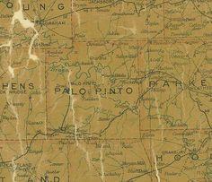 TX Palo Pinto County Texas 1907 Postal Map