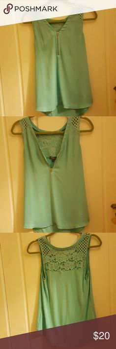Jade Green Mixed Media Tank (Express Small) Express Mixed Media Tanktop. Small size. Front woven, back knit, with flower design. Barely worn.  Front: 100% polyester.  Back: 100% rayon.  Mesh: 88% polyester, 12% spandex.  Lace: 98% nylon, 2% spandex. Express Tops Tank Tops