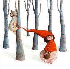 Little Red Riding Hood - Le Petit Chaperon Rouge - Martina Peluso Illustration Inspiration, Children's Book Illustration, Graphic Design Illustration, Food Illustrations, Little Red Ridding Hood, Red Riding Hood, Art Populaire, Fairytale Art, Red Hood