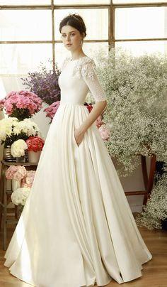 Chana Marelus Imogen Einzigartige moderne Brautkleider - Cocktail dress new Modest Wedding Gowns, Dream Wedding Dresses, Modest Dresses, Bridal Dresses, Wedding Dress Pockets, Couture Dresses, Bridesmaid Dresses, Mod Wedding, Fall Wedding