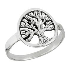10mm Enchanted Tree of Life Sterling Silver Ring Sizes: 5, 6, 7, 8, 9
