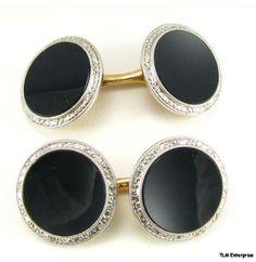 14k Gold Edwardian Onyx Cuff Links