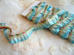 antique aqua blue omre ribbon ruffle trim