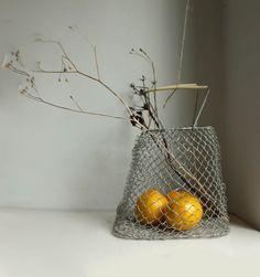 Small Vintage Folding Egg Basket. Soviet Galvanized Chicken Wire Basket for Eggs, Fruit, etc, via Etsy.