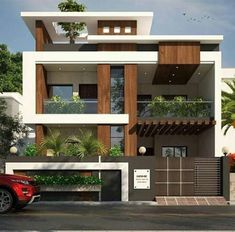 1600 square feet double floor modern home design with 3 bedrooms Modern Exterior House Designs, Best Modern House Design, Modern House Facades, Minimalist House Design, Dream House Exterior, Modern Architecture House, Exterior Design, Architecture Design, Modern Houses