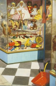 Toyshop window - Play With Us, Peter And Jane