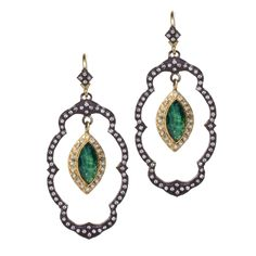 Midnight and 18K yellow-gold oval lotus earring with Malachite and London Blue topaz doublet and diamonds.