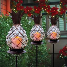 Set of 2 LED Candle Glass Pineapple Pathway Light Stakes Outdoor Fun, Outdoor Decor, Outdoor Spaces, Pineapple Kitchen, Pineapple Under The Sea, Privacy Landscaping, Yard Wedding, Pathway Lighting, Beach Room