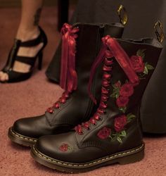 Embroidered Rose Dr. Martens Boots - http://tmblr.co/ZPNP8u1MsId-5 http://www.facebook.com/goreydetails http://twitter.com/GoreyDetails