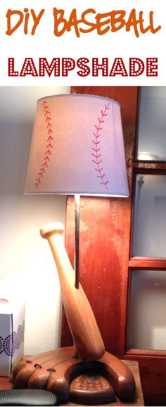 DIY Baseball Lampshade! ~ at TheFrugalGirls.com ~ perfect for a sports themed bedroom! #homedecor #lampshades #thefrugalgirls