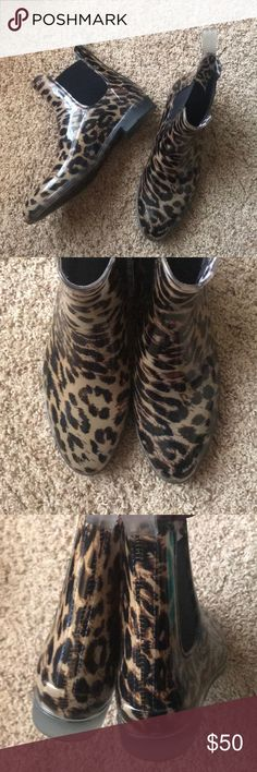 J.Crew Chelsea Leopard Rain Boots Boots have been worn, but are still in excellent preowned condition .  Open to offers - please, no trade requests J. Crew Shoes Winter & Rain Boots
