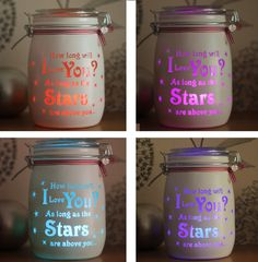 Personalised Glass Jar Love-Lite Jar - How long will I love you by Itzastickup2010 on Etsy