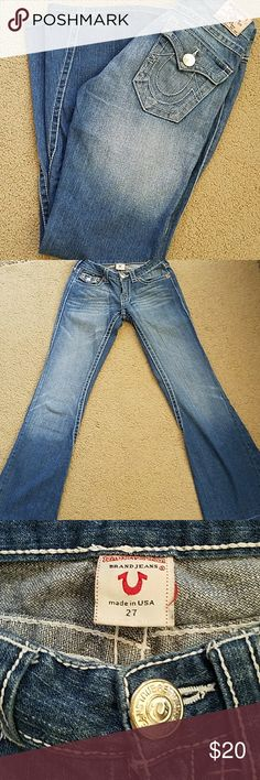 True Religion flare jeans Soft and comfortable with minor wear to the bottoms, as pictured. Inseam measures 31 inches,  waist measures 14 inches when laying flat, rise 6 1/2 inches, flare 9 1/2 inches. True Religion Jeans Flare & Wide Leg