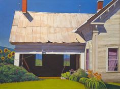 """""""Farmhouse and Shed"""", 24"""" x 32"""", oil on linen, Susan Abbott"""