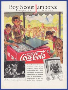 Original Vintage 1937 COCA-COLA Coke Boy Scout Jamboree RARE Art Deco Print Ad #CocaCola