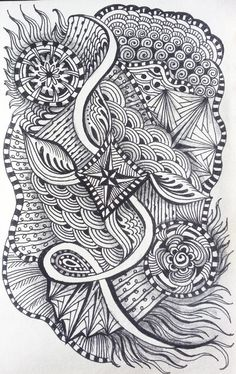 Zentangle Inspired Escaping Kite  pen  ink and by Megadesignz on etsy, $24.00