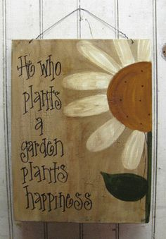 Hand Painted Primitive Daisy Flower Garden by GainersCreekCrafts. change garden to flowers Diy Garden, Garden Crafts, Garden Projects, Diy Projects, Diy Crafts, Garden Arbor, Garden Types, Wooden Garden, Painted Wooden Signs
