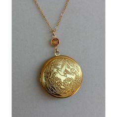 Gold locket necklace, topaz crystal bird locket necklace, swan leaf... ($28) ❤ liked on Polyvore
