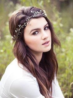 Wedding pearl and crystal headband bridal hair vine por Elibre