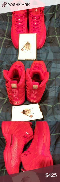 Air Jordan retro 12 Retro 12 Big red suede Air Jordan Shoes Sneakers
