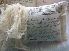 Tea dyed FRENCH Lavender SACHET-French Script-Cheesecloth.
