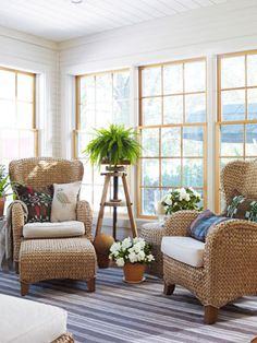 Pottery Barn Seagrass chairs, Tracy Reese Sunroom - Budget Decorating Ideas - Country Living
