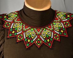 Beaded Necklace Seed beads collar Necklace by NakaHandMadeShop