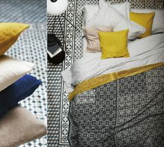 bright yellow pillows + striped sheets
