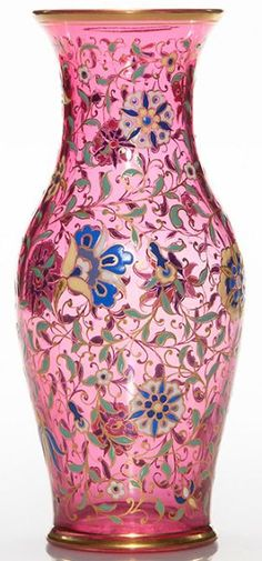 Moser Glass | Vase Cranberry Enamel Exotic Flowers & Leaves Gold