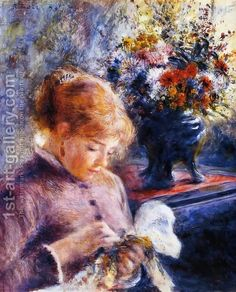 Young Woman Sewing by Pierre Auguste Renoir