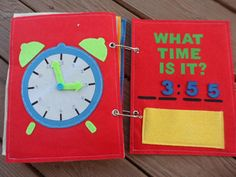 Telling Time Quiet Book, felt book, learning time, Montessori learning, clock, preschool activity, birthday gift, travel game