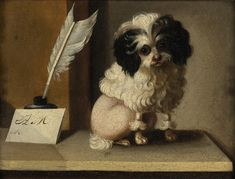 Dogs in Art History   Art History: Parti Poodle on a Writing Desk